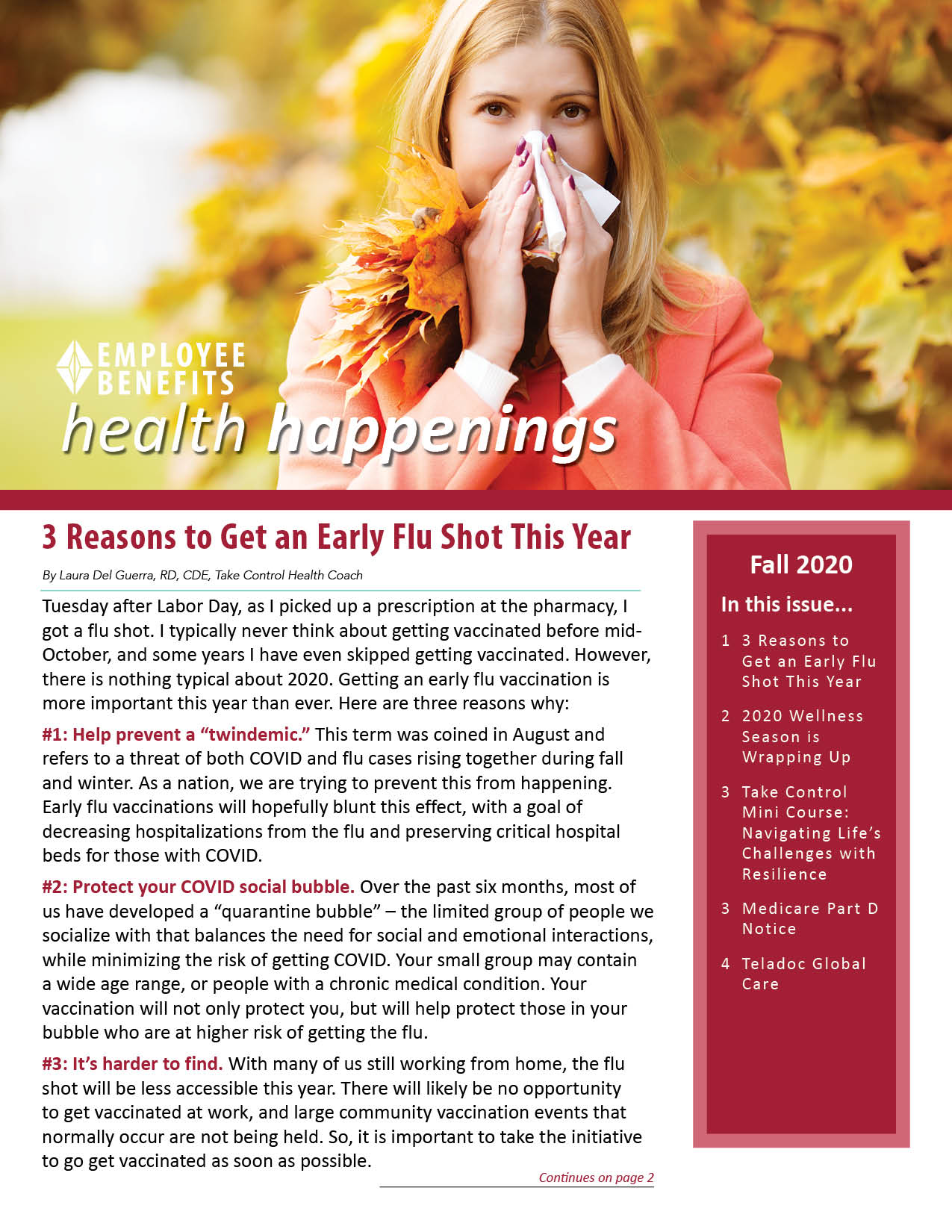 Employee Benefits Health happenings Front Cover - Fall 2020