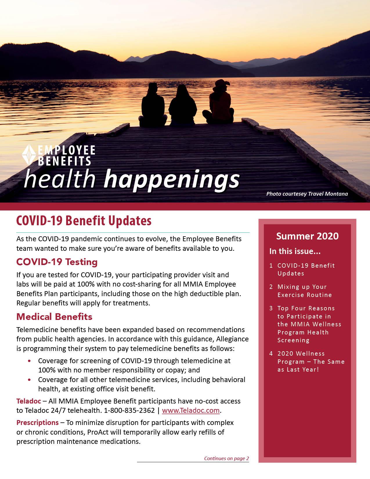 Employee Benefits Health Happenings Summer 2020 Newsletter