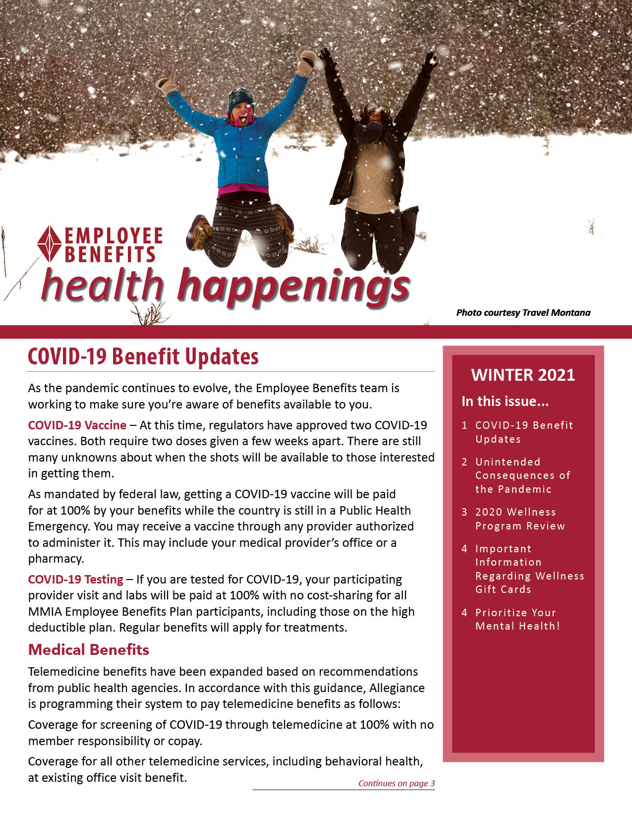 Employee Benefits Health Happenings newsletter cover