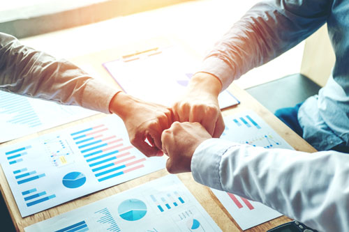 Business Teamwork joining hands team spirit